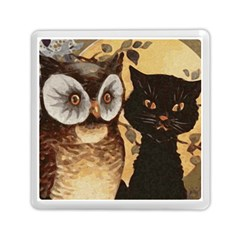 Owl And Black Cat Memory Card Reader (Square)