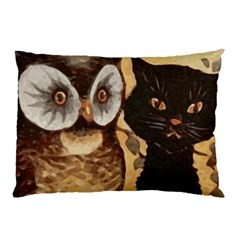 Owl And Black Cat Pillow Case (two Sides)