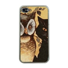 Owl And Black Cat Apple iPhone 4 Case (Clear)