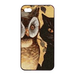 Owl And Black Cat Apple iPhone 4/4s Seamless Case (Black)