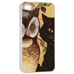 Owl And Black Cat Apple iPhone 4/4s Seamless Case (White)