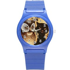 Owl And Black Cat Round Plastic Sport Watch (S)