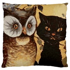 Owl And Black Cat Large Cushion Case (One Side)