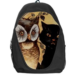 Owl And Black Cat Backpack Bag