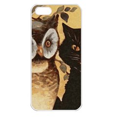 Owl And Black Cat Apple iPhone 5 Seamless Case (White)