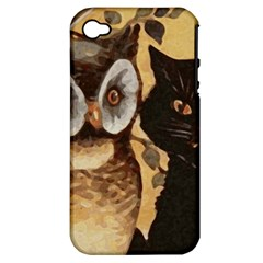 Owl And Black Cat Apple iPhone 4/4S Hardshell Case (PC+Silicone)
