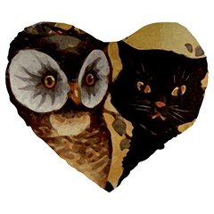 Owl And Black Cat Large 19  Premium Heart Shape Cushions