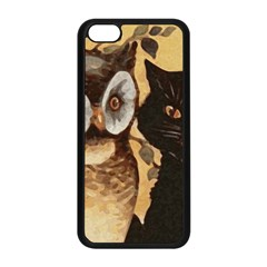 Owl And Black Cat Apple iPhone 5C Seamless Case (Black)