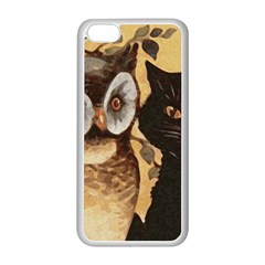 Owl And Black Cat Apple Iphone 5c Seamless Case (white)