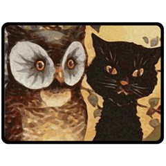 Owl And Black Cat Double Sided Fleece Blanket (Large)