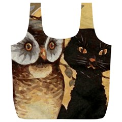 Owl And Black Cat Full Print Recycle Bags (L)