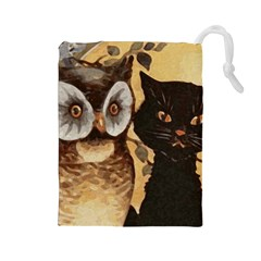 Owl And Black Cat Drawstring Pouches (Large)