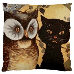 Owl And Black Cat Large Flano Cushion Case (One Side)