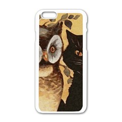 Owl And Black Cat Apple iPhone 6/6S White Enamel Case