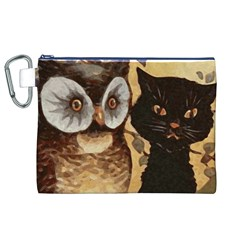 Owl And Black Cat Canvas Cosmetic Bag (xl)
