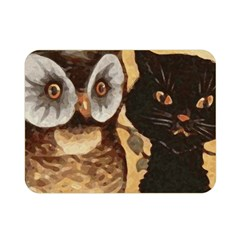 Owl And Black Cat Double Sided Flano Blanket (Mini)