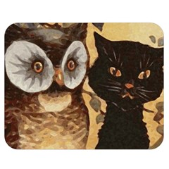 Owl And Black Cat Double Sided Flano Blanket (Medium)