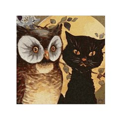 Owl And Black Cat Small Satin Scarf (Square)