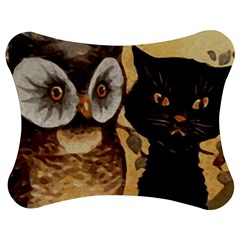 Owl And Black Cat Jigsaw Puzzle Photo Stand (bow)