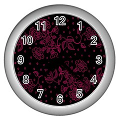 Pink Floral Pattern Background Wallpaper Wall Clocks (Silver)