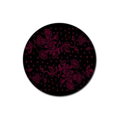 Pink Floral Pattern Background Wallpaper Rubber Round Coaster (4 pack)
