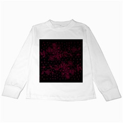 Pink Floral Pattern Background Wallpaper Kids Long Sleeve T-Shirts