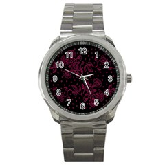 Pink Floral Pattern Background Wallpaper Sport Metal Watch