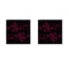 Pink Floral Pattern Background Wallpaper Cufflinks (Square)