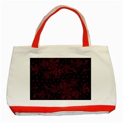 Pink Floral Pattern Background Wallpaper Classic Tote Bag (Red)