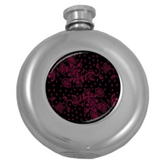Pink Floral Pattern Background Wallpaper Round Hip Flask (5 oz)