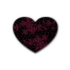 Pink Floral Pattern Background Wallpaper Rubber Coaster (Heart)