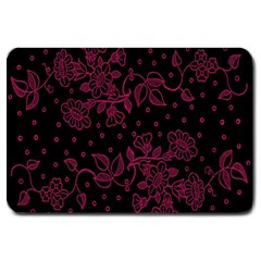 Pink Floral Pattern Background Wallpaper Large Doormat