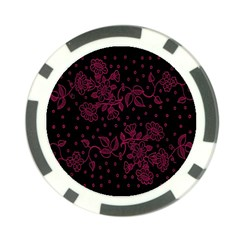 Pink Floral Pattern Background Wallpaper Poker Chip Card Guard
