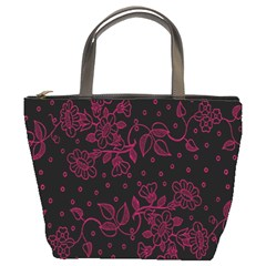 Pink Floral Pattern Background Wallpaper Bucket Bags
