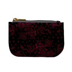 Pink Floral Pattern Background Wallpaper Mini Coin Purses