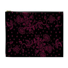 Pink Floral Pattern Background Wallpaper Cosmetic Bag (XL)