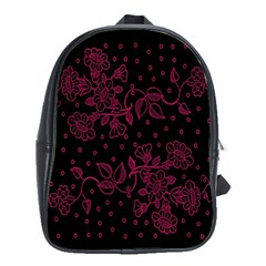 Pink Floral Pattern Background Wallpaper School Bags(Large)
