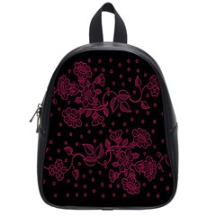 Pink Floral Pattern Background Wallpaper School Bags (Small)