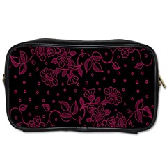 Pink Floral Pattern Background Wallpaper Toiletries Bags