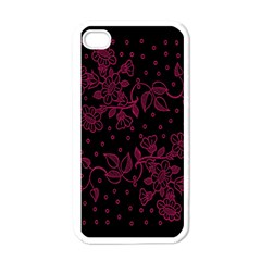 Pink Floral Pattern Background Wallpaper Apple iPhone 4 Case (White)