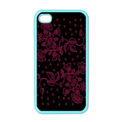 Pink Floral Pattern Background Wallpaper Apple iPhone 4 Case (Color)