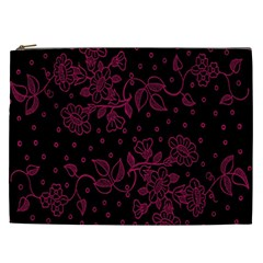 Pink Floral Pattern Background Wallpaper Cosmetic Bag (xxl)