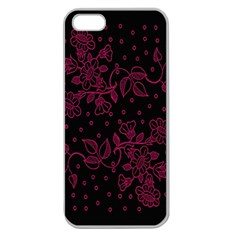Pink Floral Pattern Background Wallpaper Apple Seamless iPhone 5 Case (Clear)