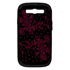 Pink Floral Pattern Background Wallpaper Samsung Galaxy S III Hardshell Case (PC+Silicone)