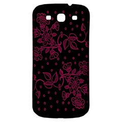 Pink Floral Pattern Background Wallpaper Samsung Galaxy S3 S III Classic Hardshell Back Case