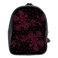 Pink Floral Pattern Background Wallpaper School Bags (XL)