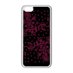 Pink Floral Pattern Background Wallpaper Apple iPhone 5C Seamless Case (White)
