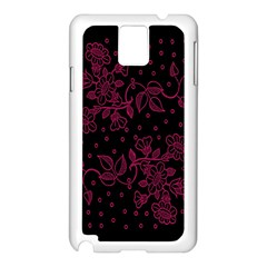 Pink Floral Pattern Background Wallpaper Samsung Galaxy Note 3 N9005 Case (White)