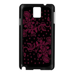 Pink Floral Pattern Background Wallpaper Samsung Galaxy Note 3 N9005 Case (Black)