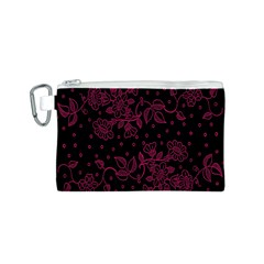 Pink Floral Pattern Background Wallpaper Canvas Cosmetic Bag (s)